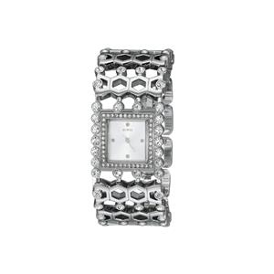 GUESS Women's U0574L1 Feminine Silver-Tone Jewelry-Inspired Watch with Genuine Crystals & Self-Adjsu