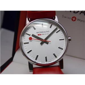 Mondaine Swiss Railways Watch EVO.Silver Dial.Red Strap. Steel Case.Swiss Made.