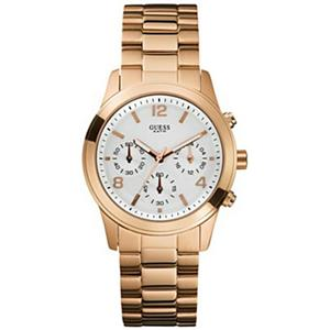 Guess Women's U13578L5. Chronograph. White Round Dial. Rose Gold Stainless Bracelet.100M Resist.