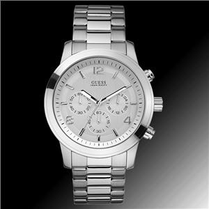 GUESS Men's U13577G1 Silver-Tone Stainless Steel Watch with Triple-Link Bracelet