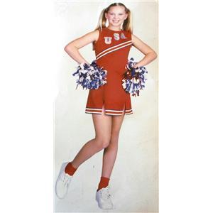 Red USA Cheerleader Girls Costume Size XS 4-6