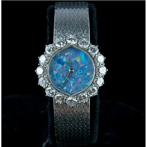 Vintage 1960's 18k White Gold Audemars Piguet Opal & Diamond Wrist Watch 2.56ctw