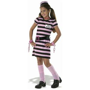 Drama Queens Child's Miss Behaved Prisoner Convict Girls Costume Size Small 4-6