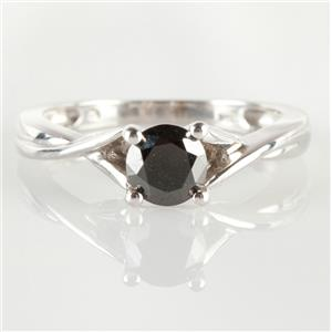 10k White Gold Round Cut Black Diamond Solitaire Engagement Ring .68ct