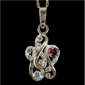 Unique 14k Yellow Gold Round Cut Diamond & Ruby Cluster Pendant W/ Chain .56ctw