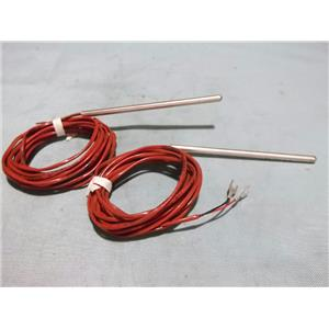 Lot of 2 Stainless Steel Thermocouple 8798 w/ Approx 8' of Wire, 4'' Probe