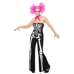 Womens Sassy Sexy Skeleton Adult Costume Jumpsuit and Neck Tie Size Large