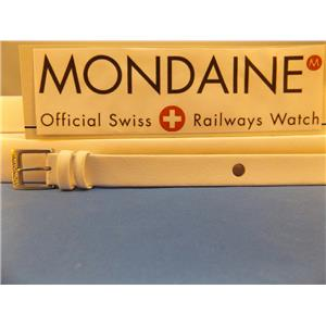 Mondaine Watch Band White One Piece 14mm WideLeather Loop Thru Strap w/Logo Bkle