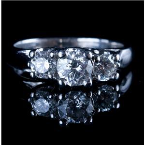 Stunning Platinum Decagonal Round Cut Three-Stone Diamond Engagement Ring .93ctw