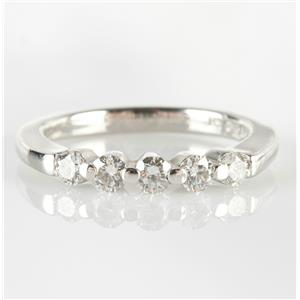 Platinum Decagonal Round Cut Five-Stone Diamond Wedding Anniversary Band .60ctw
