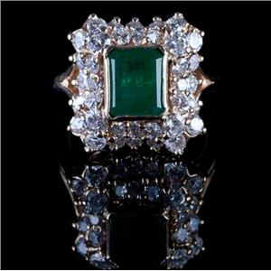 "Fine 14k Yellow Gold Emerald Cut ""A"" Emerald & Diamond Cocktail Ring 2.82ctw"