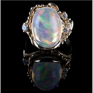 """Vintage 1960's 18k Yellow Gold """"AAA"""" Jelly Opal & Diamond Cocktail Ring 8.05ctw"""