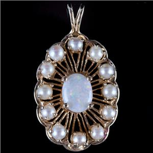 "Vintage 1960's 14k Yellow Gold Oval Cut ""A"" Opal & Pearl Pendant .74ctw"