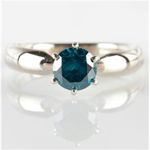 14k White Gold Round Cut Natural Blue Diamond Solitaire Engagement Ring 1.01ct