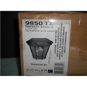 New Kichler 9850 TZ Tannery Bronze 2 light Fixture Clear Beveled Glass Panels