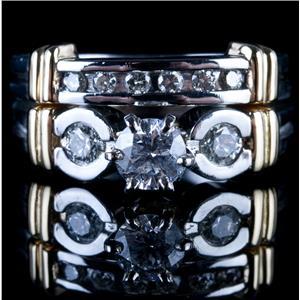 Platinum & 14k Yellow Gold Diamond Engagement / Wedding Ring Set 1.02ctw