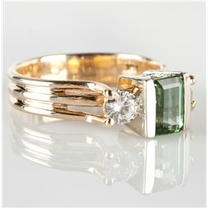 14k Yellow & White Gold Emerald Cut Tourmaline Solitaire Ring W/ Diamonds 1.4ctw