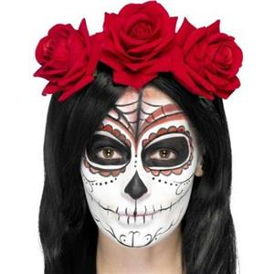 Day Of The Dead Headband with Roses Red Flower Halo
