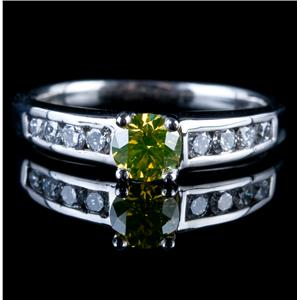 Stunning Platinum Yellow Diamond & Diamond Solitaire Engagement Ring .92ctw