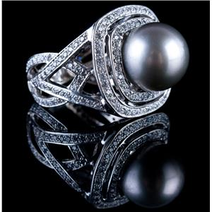 Stunning 14k White Gold Cultured South Sea Pearl & Diamond Cocktail Ring 1.65ctw