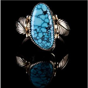 """14k Yellow Gold Cabochon Cut """"AAA"""" Turquoise Solitaire Ring W/ Leaf Pattern"""