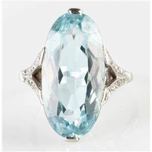 Vintage 1925 14k White Gold Oval Cut Aquamarine & Diamond Cocktail Ring 12.64ctw