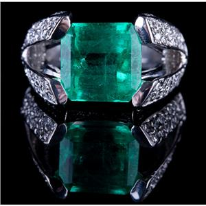 18k White Gold Emerald Cut Emerald Solitaire Ring W/ Diamond Accents 7.29ctw