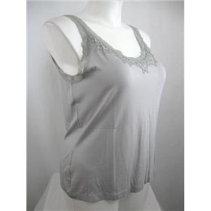 Chico's Size 2 Gray Rayon Cami with Lace at Neckline and around Armholes