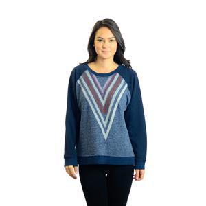 "M MOTHER ""The Square"" Going too Far Blue Crew Neck Sweater Top w/V-Stripe Neck"