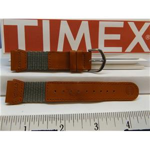 Timex Watch Band 19mm Gray/Brn Leather/Nylon Indiglo Expedition Strap. Watchband