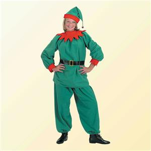 Halco Christmas Elf Velour Santa Helper Costume Suit Adult Large Size 14-18