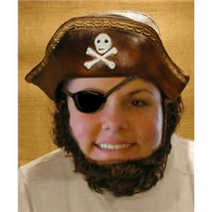 Pirate Headpiece Hat with Attached Hair and Beard Costume Accessory