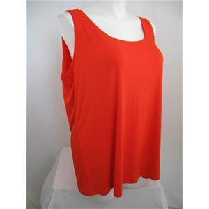 Susan Graver Size 1X Solid Color Scoop Neckline Liquid Knit Tank -Flame Orange