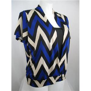 Claudia Richard Chevron Stripe Short Sleeve Polyester Layered Look Top