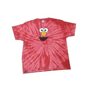 Red Elmo Face Tie Dye Tee Short Sleeve Shirt Large Unisex Adult