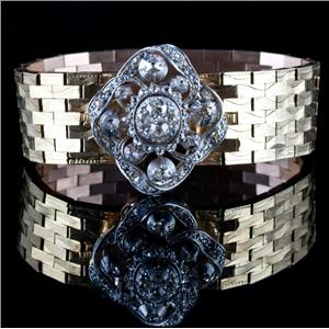 Vintage 1880 18k / 14k Yellow & White Gold Old Mine Cut Diamond Bracelet 2.42ctw