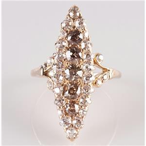 Vintage 1880's 14k Yellow Gold Champagne Diamond & Diamond Cocktail Ring 1.99ctw