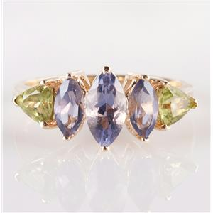 10k Yellow Gold Marquise Cut Iolite & Trillion Cut Peridot Cocktail Ring 1.38ctw