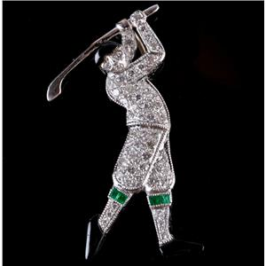 "14k White Gold Diamond & Emerald ""Golfer"" Pendant / Pin Combination .52ctw"