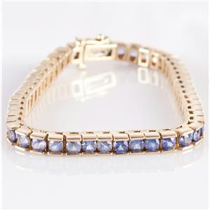 14k Yellow Gold Round Cut Tanzanite Tennis Bracelet 9.31ctw