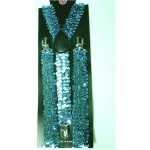 Blue Turquoise Sequin Suspenders