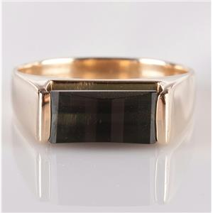 14k Yellow Gold Rectangle Checkerboard Cut Tourmaline Solitaire Ring 2.56ct