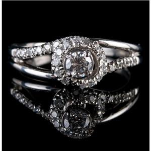 "Platinum Round Cut ""F"" Diamond Swirl Style Solitaire Engagement Ring .66ctw"