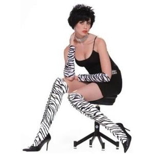 80's Zebra Zipper Leggings Above The Knee Accessory