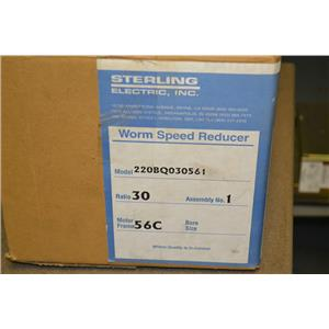 *NOS* Sterling Worm Speed Reducer, 220BQ030561, 30:1, Ratio, 0.597 HP, 56C Frame