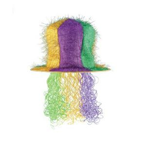 Multicolored Mardi Gras Tinsel Top Hat With Curly Wig