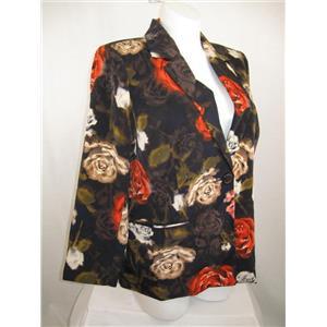 Susan Graver Printed Peachskin Polyester Single Breasted Blazer in Orange Flower