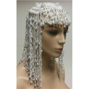 White Egyptian Cleopatra Beaded Headpiece Accessory