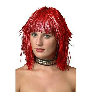 Cyber Red Metallic Tinsel Wig