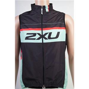 2XU Custom Wind Breaker Cycling Vest Men's Sea Foam Green / Red / Black